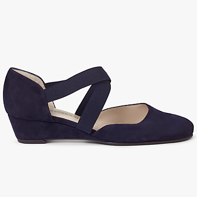 Peter Kaiser Jaila Cross Strap Wedge Heeled Court Shoes, Navy Suede