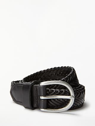 John Lewis & Partners Sianne Skinny Plaited Leather Belt