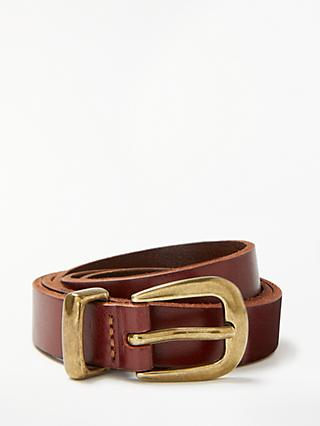 John Lewis & Partners Sienna Skinny Leather Gold Tip Belt