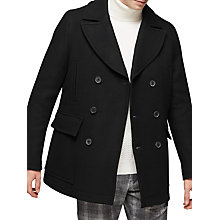 Buy Reiss Soldier Double Breasted Pea Coat, Black Online at johnlewis.com