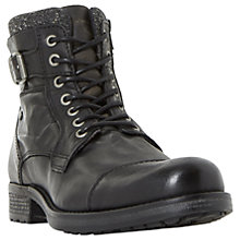 Buy Dune Churchill Buckled Lace Up Boots, Black Online at johnlewis.com