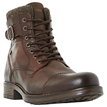 Buy Dune Churchill Buckled Lace Up Boots, Brown Online at johnlewis.com
