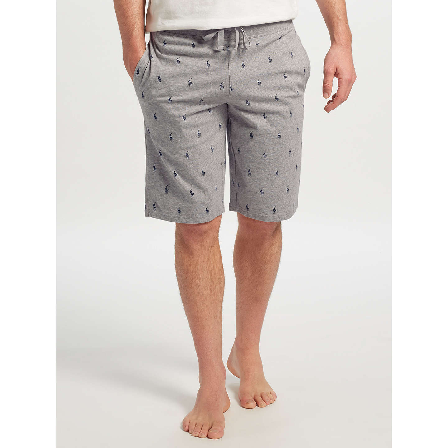 BuyPolo Ralph Lauren Pony Print Jersey Lounge Shorts, Grey, S Online at  johnlewis.