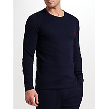 Buy Polo Ralph Lauren Cotton Waffle Long Sleeve T-Shirt, Cruise Navy Online at johnlewis.com