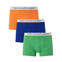 Buy Polo Ralph Lauren Cotton Trunks, Pack of 3, Blue/Green/Orange Online at johnlewis.com