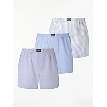 Buy Polo Ralph Lauren Stripe Plain Check Boxers, Pack of 3, Blue/White Online at johnlewis.com