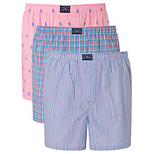 Buy Polo Ralph Lauren Pattern Boxers, Pack of 3, Blue/Pink Online at johnlewis.com