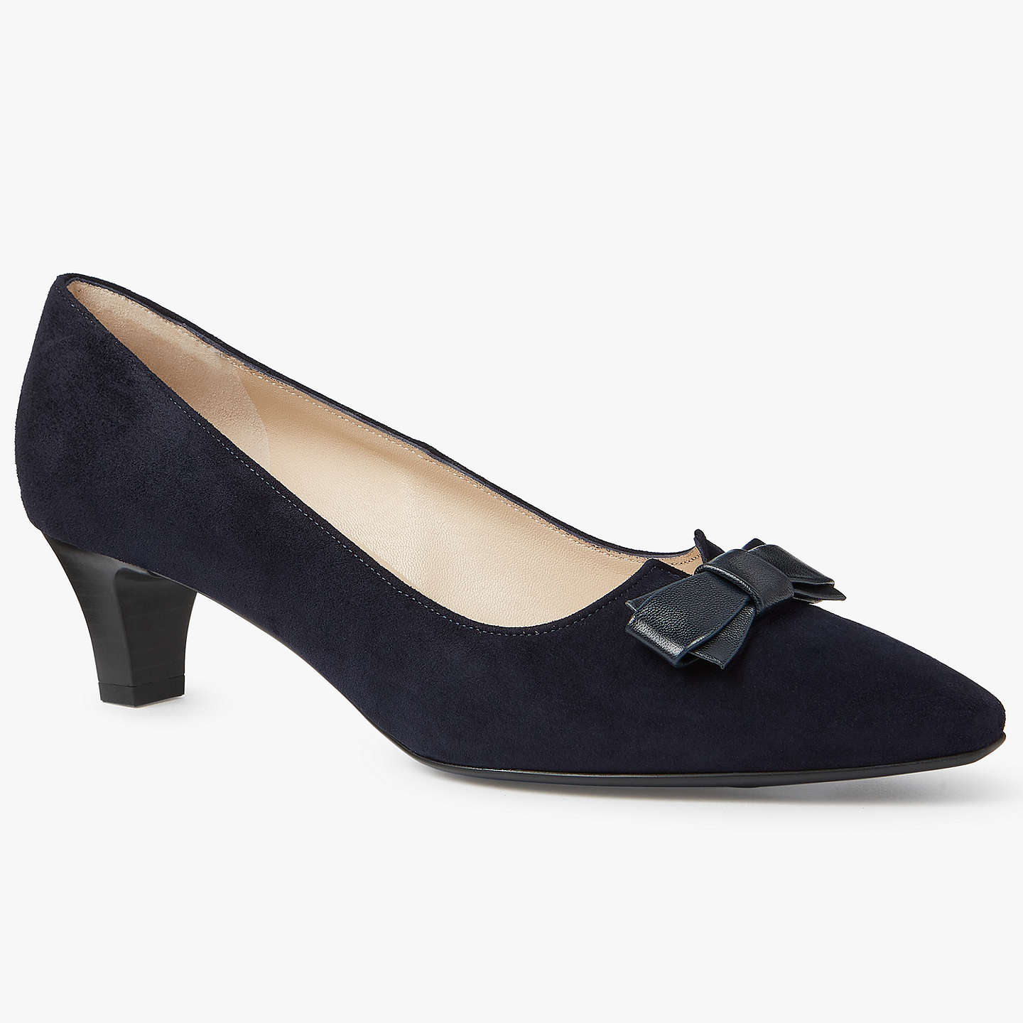 BuyPeter Kaiser Saris Pointed Toe Bow Court Shoes, Navy Suede, 4 Online at johnlewis.com