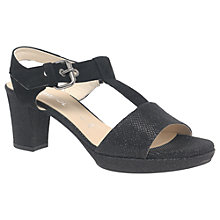 Buy Gabor Clover Wide Fit Block Heeled Sandals, Black Suede Online at johnlewis.com