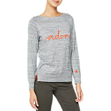 Buy Mint Velvet Long Sleeve Slogan Jumper, Dark Grey Online at johnlewis.com