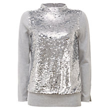Buy Mint Velvet Sequin Roll Neck Jumper, Grey Online at johnlewis.com