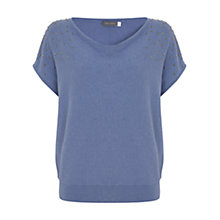 Buy Mint Velvet Stud Detail Slouchy T-Shirt, Light Blue Online at johnlewis.com