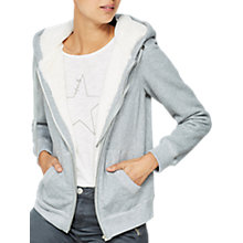 Buy Mint Velvet Faux Fur Lined Hoodie, Light Grey Online at johnlewis.com