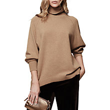 Buy Reiss Adira Cashmere Roll Neck Jumper, Camel Online at johnlewis.com