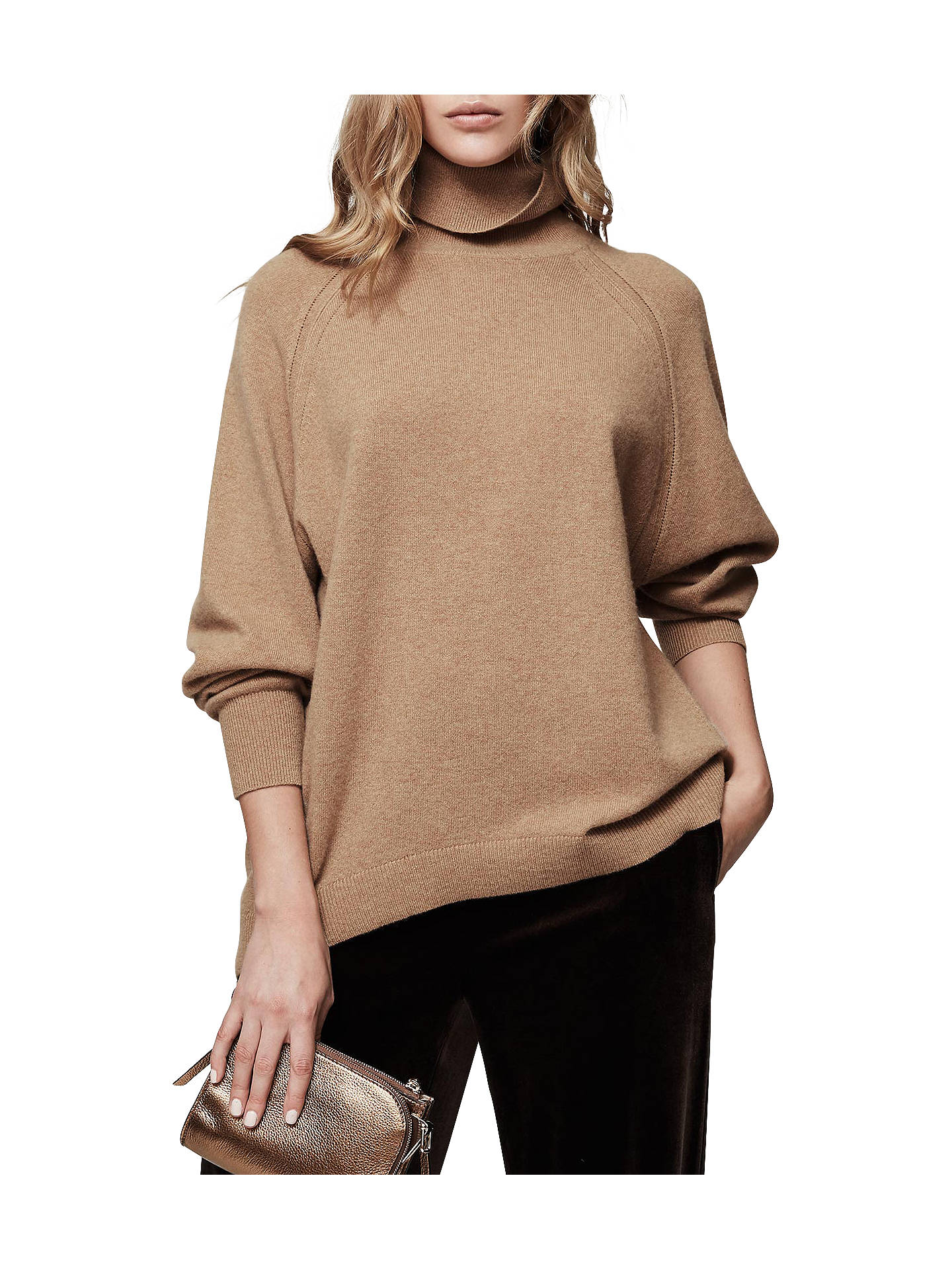 7d42ac0298a Reiss Adira Cashmere Roll Neck Jumper, Camel at John Lewis & Partners