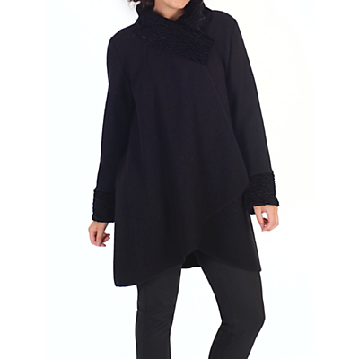 Chesca Astrakhan Collar Coat, Black