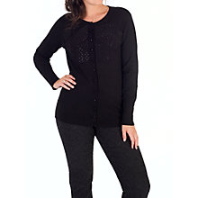 Buy Chesca Jet Diamante Bow Trim Cardigan, Black Online at johnlewis.com