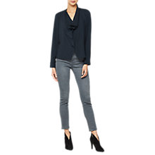 Buy Mint Velvet Cowl Front Shirt, Dark Blue Online at johnlewis.com