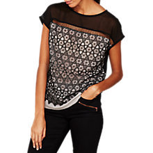 Buy Mint Velvet Star Lace T-Shirt, Black Online at johnlewis.com