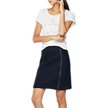 Buy Mint Velvet Boucle Zip Detail Skirt, Dark Blue Online at johnlewis.com
