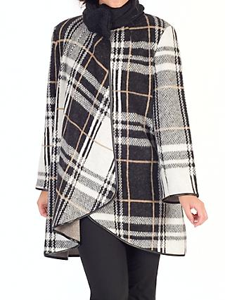 Chesca Camel Check Coat, Monochrome/Camel