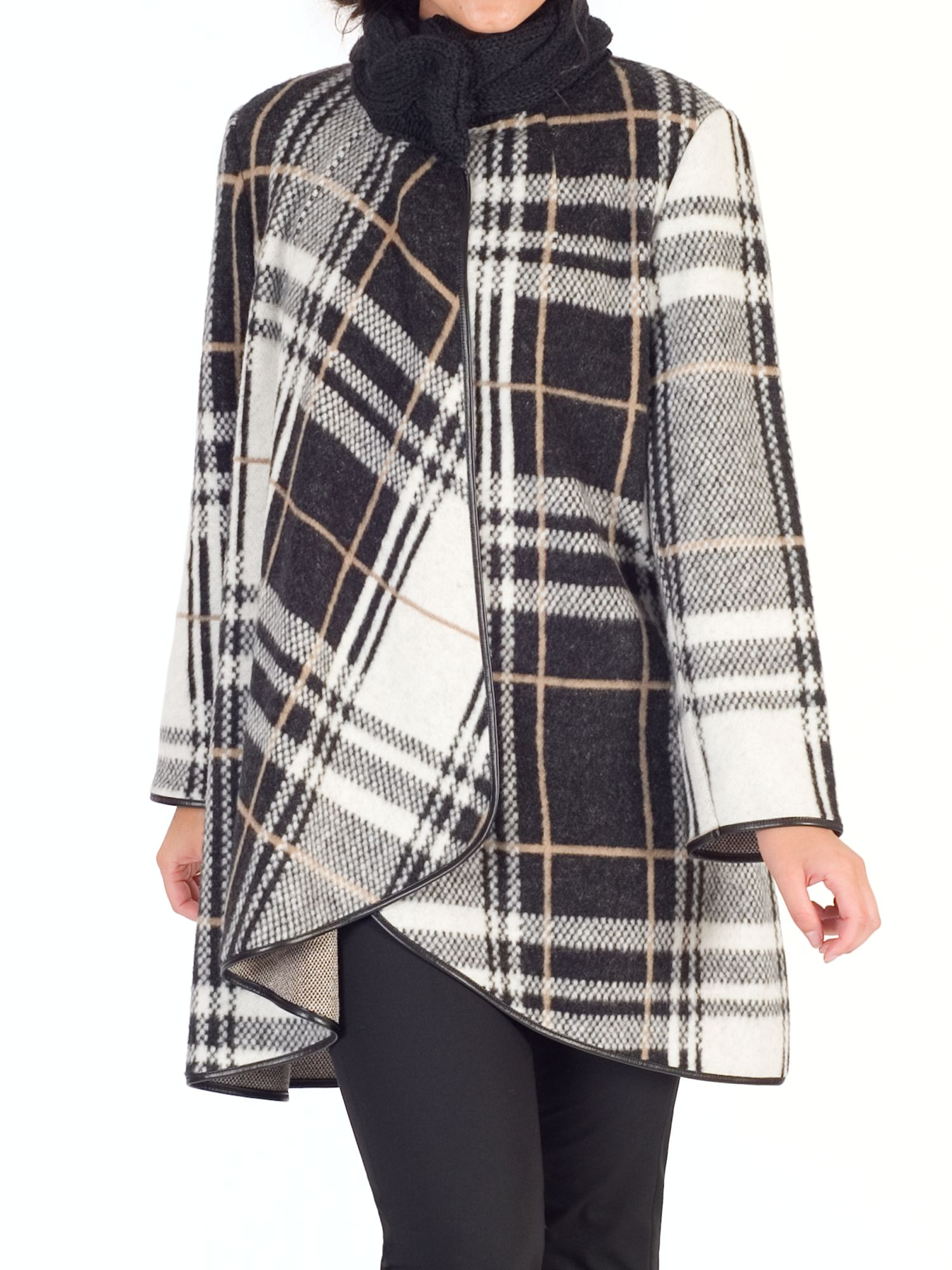 Chesca Chesca Camel Check Coat, Monochrome/Camel