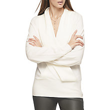 Buy Reiss Blanche Wrap Front Jumper, White Online at johnlewis.com