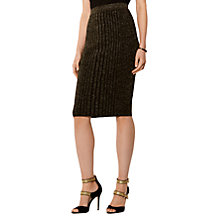 Buy Karen Millen Metallic Knitted Midi Skirt, Gold Online at johnlewis.com