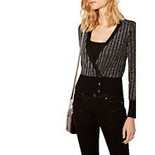 Buy Karen Millen Metallic Knitted Cardigan, Pewter Online at johnlewis.com