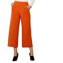 Buy Karen Millen High Waisted Wide Leg Cropped Trousers, Burnt Orange Online at johnlewis.com