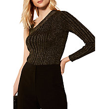 Buy Karen Millen One Shoulder Knitted Top, Gold Online at johnlewis.com