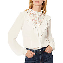 Buy Karen Millen Ruffle Trim Blouse, Ivory Online at johnlewis.com