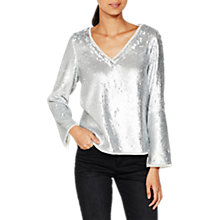 Buy Mint Velvet Sequin Top, Silver Online at johnlewis.com