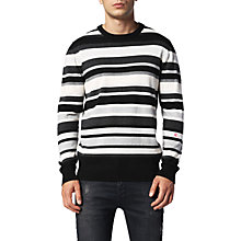 Buy Diesel Crew Neck K-Nut Jumper, Black/White Online at johnlewis.com