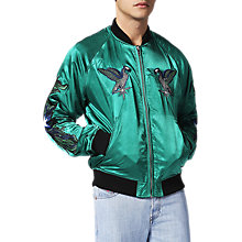 Buy Diesel J-Shine Bomber Jacket, Green Online at johnlewis.com