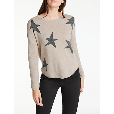 Wyse London Maddy Large Star Slouchy Cashmere Jumper, Taupe/Grey