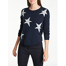 Buy Wyse London Maddy Large Star Slouchy Cashmere Jumper, Navy/Grey Online at johnlewis.com