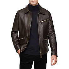 Buy Reiss Hopper Zipped Leather Jacket, Brown Online at johnlewis.com