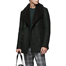 Buy Reiss Pangea Shearling Collar Double Breasted Coat, Green Online at johnlewis.com