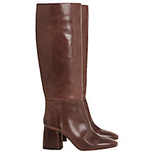 Buy Finery Aslen Block Heeled Knee High Boots, Mahogany Leather Online at johnlewis.com