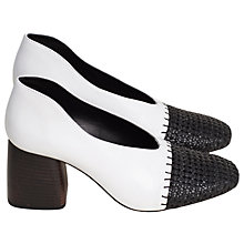 Buy Finery Axel Block Heeled Court Shoes, Black/White Online at johnlewis.com