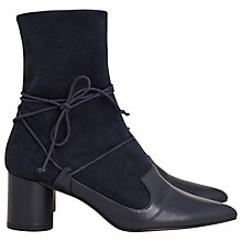 Buy Finery Gaskell Block Heeled Ankle Sock Boots, Navy Online at johnlewis.com