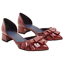 Buy Finery Tay Ruffle Two Part Court Shoes, Red Leather Online at johnlewis.com