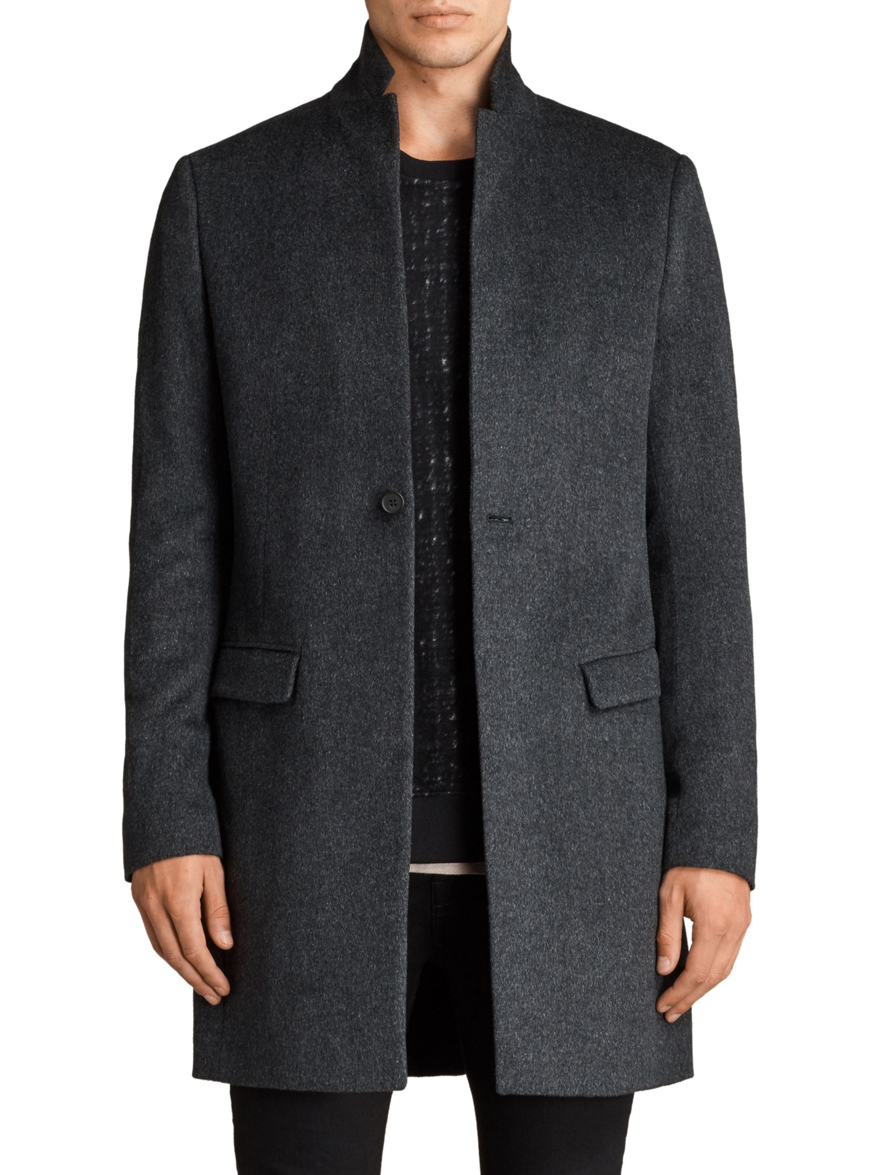 AllSaints AllSaints Bodell Wool Tailored Coat, Charcoal Grey
