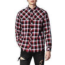 Buy Diesel S-Planet Long Sleeve Shirt, Red/Black Online at johnlewis.com