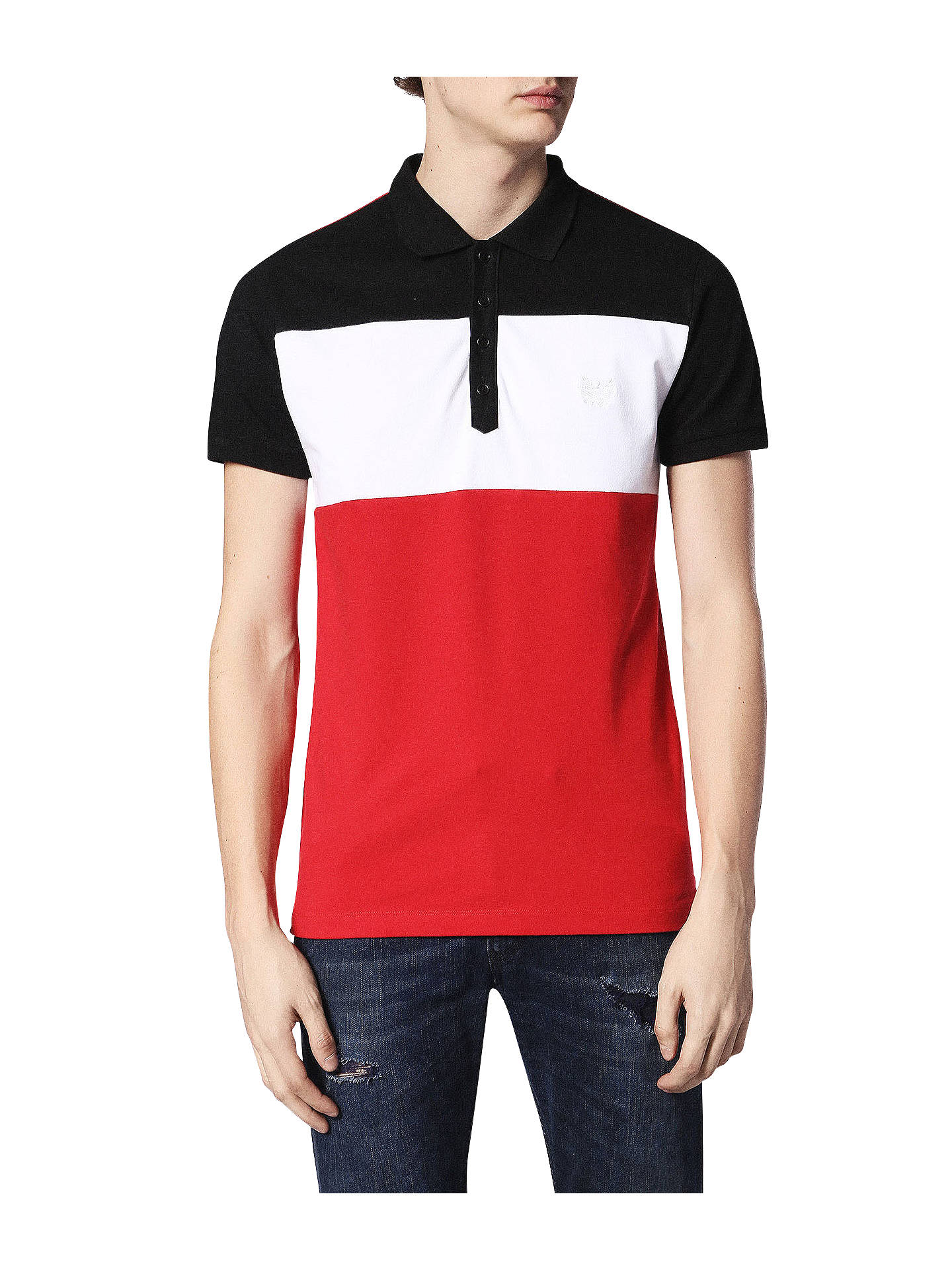 9eac44c5 Diesel T-Day Polo Shirt, Tango Red/White/Blue at John Lewis & Partners
