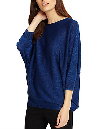 Phase Eight Becca Batwing Shimmer Jumper, Cobalt