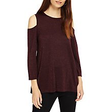 Buy Phase Eight Cassy Shimmer Cold Shoulder Top, Port Online at johnlewis.com