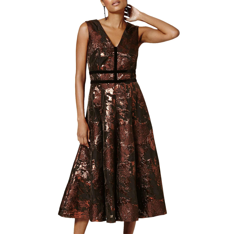 Phase Eight Nanette Jacquard Dress, Black/Bronze at John Lewis