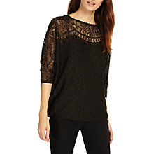 Buy Phase Eight Metallic Foil Lace Trim Becca Jumper, Black Online at johnlewis.com